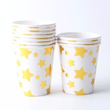 10pcs/lot Baby Shower Gold Silver Star Paper Cups for Christmas Thanksgiving Day Party Wedding Birthday Party Supplies(China)