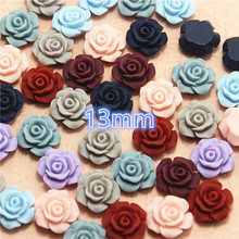Mixed Color flower resin vintage flatback cabochon DIY jewelry/phone decoration No Hole 50pcs 13mm(China)