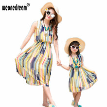WEONEDREAM Summer Mother Daughter Dress Sleeveless Chiffon Matching Mother Daughter Clothes Family Look Beach Girls Dress(China)