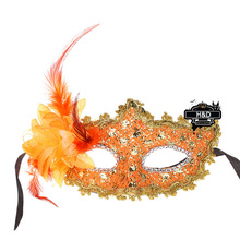 Orange Floral Pattern Venetian Masquerade Ball Mask Flower Feather Princess Fancy Dress Halloween Party Costume Lace Eye Masks
