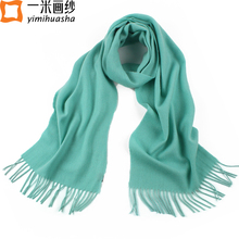 Luxury Brand ladies scarves green cashmere pashmina tassels scarves for women thick warm lamb's wool shawls and wraps