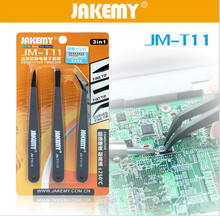 3 in 1 JAKEMY JM-T11 Anti-static Tweezers Set Triad Fix Repair Tool Kit for iPhone Smartphone Tablets Electronic Components
