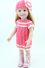 Realistic Full Body Vinyl Smile Baby Girl Dolls 18 inch From America Blond Hair Hand Crochet Dress Fashion Kids Toys(China)