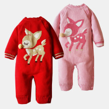 Baby girl boy Long sleeved winter plus velvet deer pattern Romper Newborn Knitted Sweater Infant Jumpsuits(China)