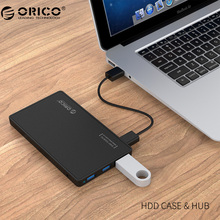 ORICO 2.5 HDD Enclosure USB 3.0 Hard Drive Case with 3 Ports USB 3.0 HUB Tool Free Design Driver with 5V2A Power Adapter