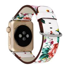 Nice Floral Printed Leather Loop Strap for Apple Watch Band 38mm 42mm Flower Design