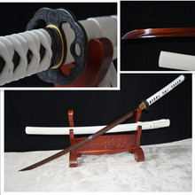 TOP QUALITY HAND FORGE JAPANESE SAMURAI KATANA SWORD BLACK&RED FOLDED STEEL FULL TANG SHARP BLADE WHITE SAYA