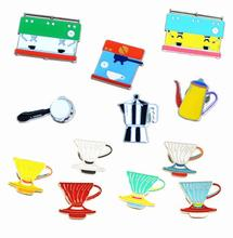 X154 Cartoon Cute Hand Rush Mocha Pot Filter Cup Coffee machine Metal Brooch Pins Jeans Bag Decoration Brooches Gift Wholesale