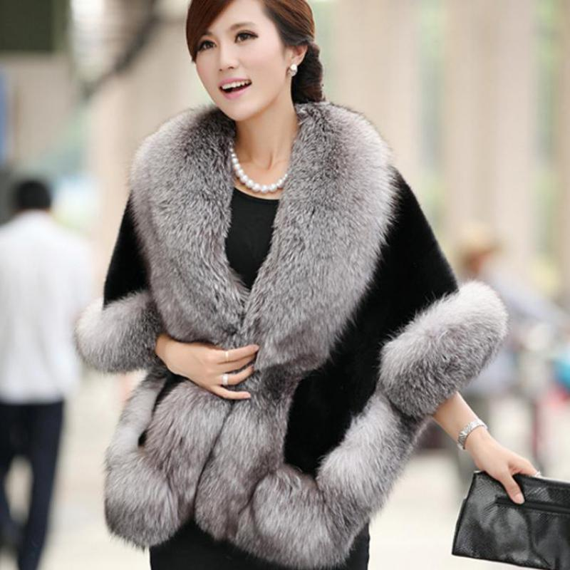 Noble Women Solid Artificial Fur Cape Faux Fox Fur Wrap Winter Warm Echarpes One Size Chal Pashmina Female Elegant  Mantilla