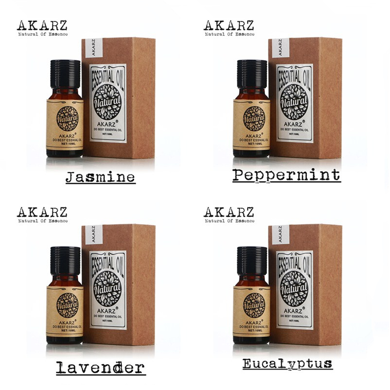 AKARZ Famous brand 100% Pure Jasmine Peppermint Lavende Eucalyptus Oils Pack For Aromatherapy Massage Spa Bath 10ml*4(China (Mainland))