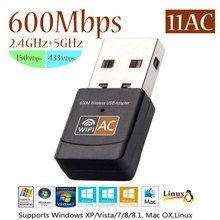 11AC 5GHz 2.4GHz Wireless USB Adapter 600Mbps Dual Band MiNi PC WiFi Adapter Wi-fi Network LAN Card(China)