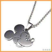 Fashion jewelry Mickey Mouse Head Pendant 316L Stainless Steel Necklaces Mens Necklaces 06083