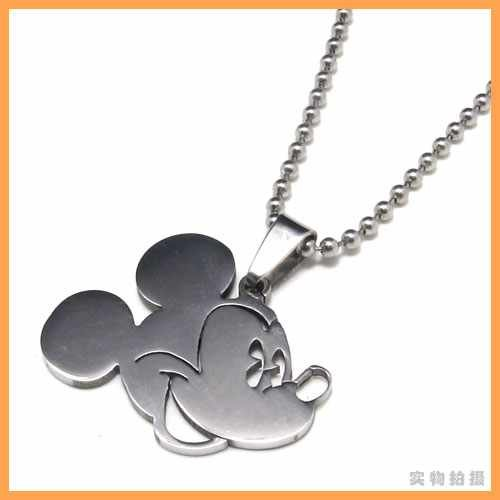 Fashion jewelry Mickey Mouse Head Pendant 316L Stainless Steel Necklaces Mens Necklaces 06083(China (Mainland))