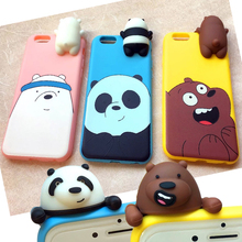 Cute 3D Toys Bear Silicone Case for Apple iPhone 6 6s 6plus 6sPlus phone case Panda Brown bear Cartoon Lying Down Doll soft case(China)