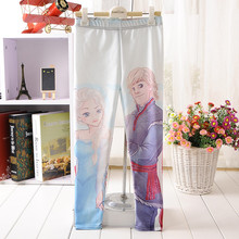 For Teenage Girl Cartoon Frozen Painting Print Fitness Pants Casual Exercise Leggings Elastic Fiber Full Length Energy Trousers(China)