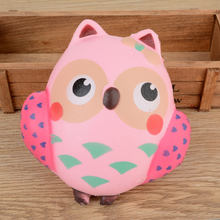 Mayitr 13CM Elastic PU Soft Squishy Cute Pink Owl Slow Rising Phone Strap Simulate Owl Bird Doll Squeeze Toy Relieve Anxiety