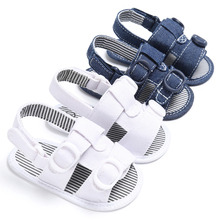 ROMIRUS Baby Boys Summer Casual Jean Blue White Color Beach Shoes Flip Flop Anti Slip Crib Bebe Soft Soled First Walkers(China)