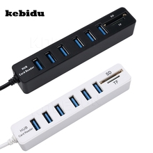 kebidu 2 In 1 USB Hub Combo 6 Ports USB 2.0 Hub Splitter Multi USB Combo Support SD/TF Card Reader For PC Laptop Computer(China)