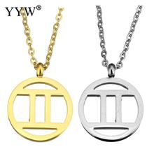 YYW Women Men European Gold-color Stainless Steel Jewelry Pendant Necklace Constellation Signs Gemini Zodiac Jewelry Necklaces