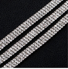 3mm 1  yard 3 Rows Crystal Rhinestone Cup Chain Silver Base With Claw Dress Decoration Trim Applique Sew on Garment Shoes Bags