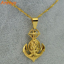 Anniyo Cross Jesus Anchor Pendant & Necklace Women Men,Gold Color Crucifix Jewelry Christian Wholesale Gold Jewellry(China)