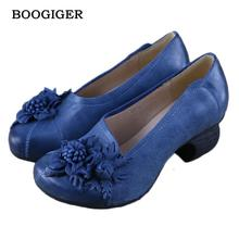 2017 Designer Spring Womens Blue Pumps Sale Genuine Leather Ladies 4CM Heel Flower Shoe Handmade Ruby Slipper Shoes For Women(China)
