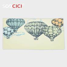 Custom Microfiber Ultra Soft Bath/hand Towel,Vintage Decor Hot Air Balloons in Soft Tone Fly in Sky Lighter Than Air High Touris