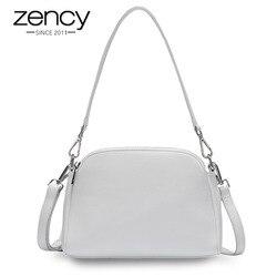 Женская белая сумка из натуральной кожи с двумя молниями