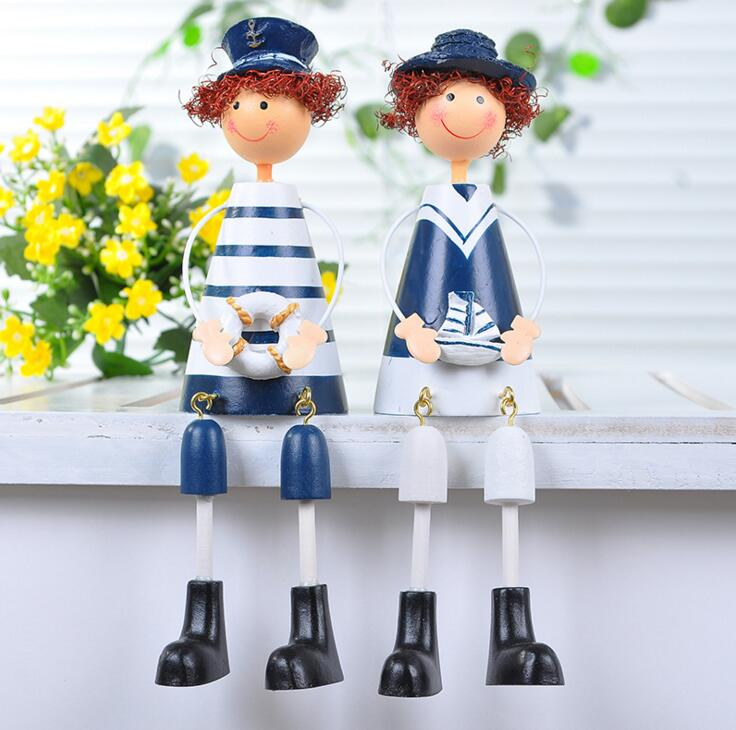 2pcs/set Creative home furnishing articles Wooden doll The Mediterranean accessories naval craft Child toys <br><br>Aliexpress