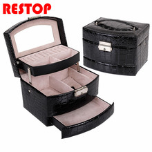 2017 Newest Large Jewelry Box Makeup Organizer Faux Leather Case with Mirror and Lock Two Layer Jewelry Organizer RES202