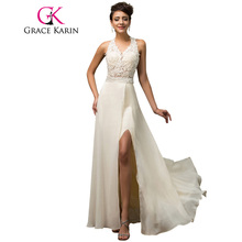 Halter Grace Karin Luxury Elegant Evening Dress Open Back Beige Sequin Beading Long Formal Gown Chiffon Split Evening Dress 2017