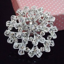 silver alloy big snowflake clear crystal brooch retail women costume brooch pins for wedding party