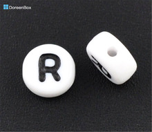 "Doreen Box hot- 500Pcs Acrylic Alphabet/Letter ""R"" Flat Round Spacer Beads 7mm(B08345)(China)"