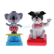 2x Solar Powered Dancing Flip Flap Toys Home Desk Dancer Car Ornaments Bobble Head Toys Kids Birthday/Chrismas Gifts(Dog+Koala)(China)