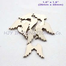 (100pcs/lot) 38mm Natural Blank Wood Angle Wings Ornaments Rusitc Favor Crafts Supplies-CT1433B(China)