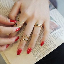 Creative Fashion Geometry 3Pcs/Set Fashion Design Stack Above Knuckle Nail Ring cocktail Ring Romanticparty