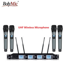 Bolymic 4x100 Channels cordless microphone Professional UHF Wireless Microphone System with Flight Case