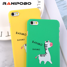 Cute Cartoon Zebra Case For iphone 6 Case Hard Yellow Green Cover Case for iPhone 6 6s 7 8 Plus Letter Protect Phone Cases Capa(China)
