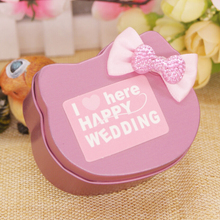 12 pcs/lot Mini Metal Candy Boxes,New Cartoon Storage Box for Wedding Candy,Kawaii Small Tin Box Cute Cat Head Shape Container