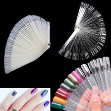 Nail Art Tips 50x Fan-shaped Natural False Tools Display Board Polish Manicure Fans Shape Gel Polish Color Practice Show Tools