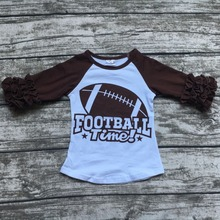 baby Fall girls full sleeve icing boutique football time ruffles white brown top T-shirt clothes ningbo baby kids wear firm(China)