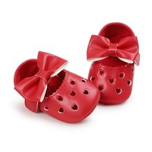 Newborn Baby Girls Shoes Princess Mary Big Bow Hollow Heart-Shaped Crib Bebe First Walkers Flat Dress Soft Sled Shoes(China)