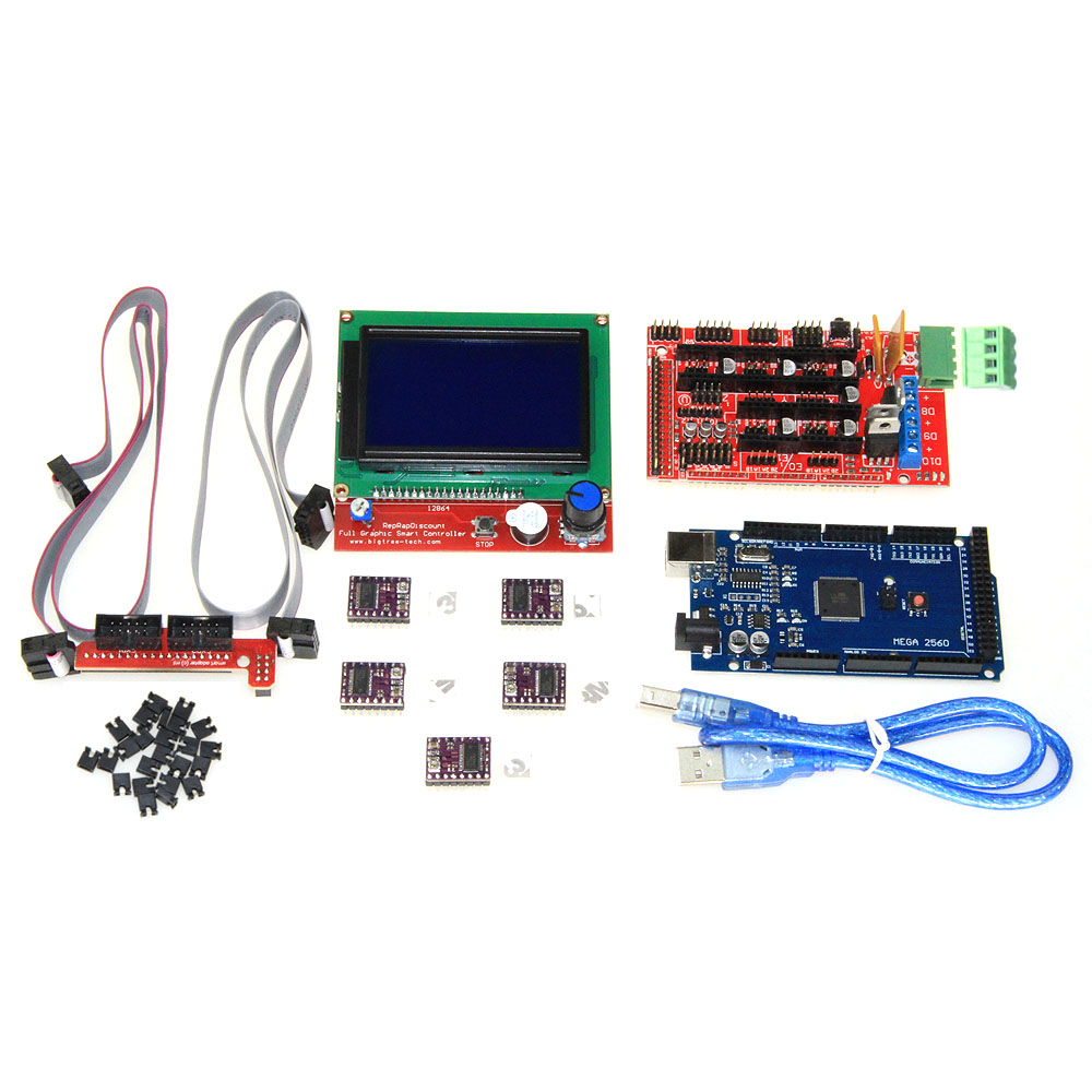 3D Printer kit 1pcs Mega 2560 R3 + 1pcs RAMPS 1.4 Controller+ 5pcs DRV8825 Stepper Motor Drive + 1pcs LCD 12864 controller<br>