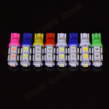 10pcs Wholesale T10 9SMD 5050 9 Smd 9Led Car 194 168 192 W5W LED Light Automobile Bulbs Lamp Wedge Interior Light DC12V
