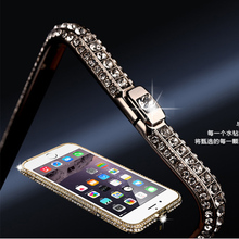 for iPhone 7 8 Plus New style metal rhinestone bumper bling Crown luxury diamond clear crystal back cover Glitter metal Alabasta(China)