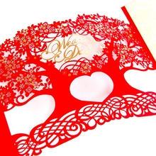 3D laser cut Mariage Blank Inner Side Wedding Invitations Cards Tree Design Postcards Greeting Cards with Envelope CW1022R/G(China)
