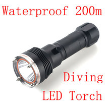 New Tactical Waterproof 2500 lm XM-L2 LED Tactical  Diving Flashlight Handy 200M Underwater Scuba Torch Light Lamp