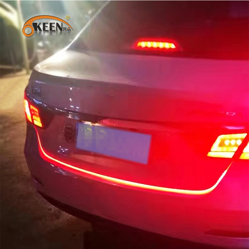 2017 New product OKEEN car led trunk light strip 120cm 5 functions led moving flash warning light turn signal Stop signal back(China)