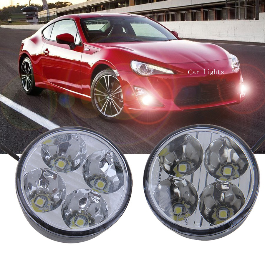 -94% OFF 1 Pair Round Auto Car Lights 4 LED DRL Daytime Running Lights Headlight Foglamp White Car External Lights Car Styling(China)