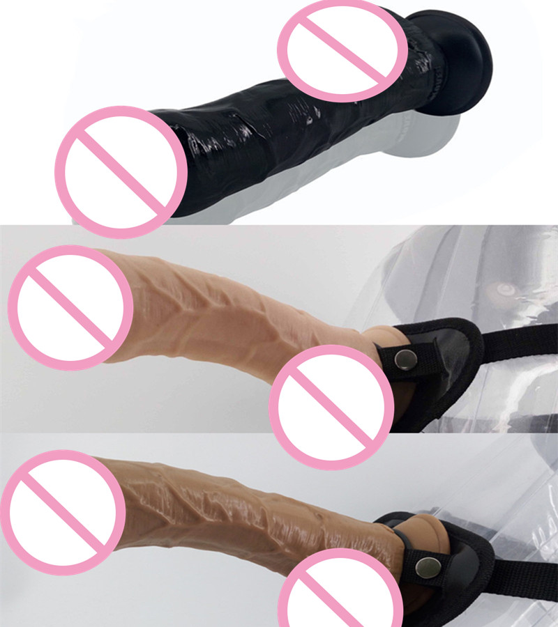Strap On Dildo Foreskin Penis Wearable Dildo with Textured Shaft Strong Suction Wearing Penis Belt Lesbian Sex Toys C3-2-15<br>
